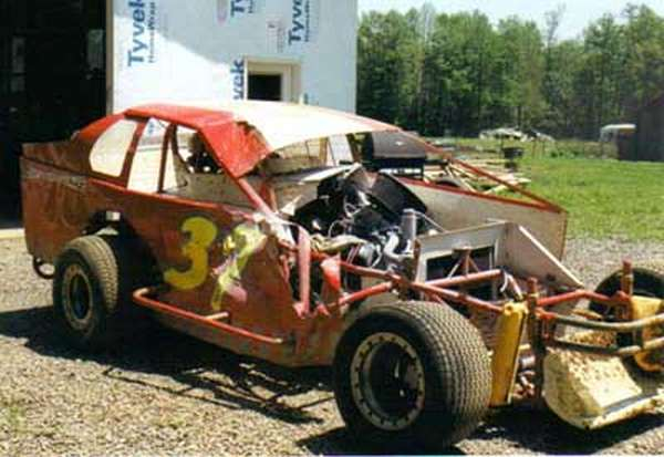 Damage sustained at Mercer Raceway Park in 2002.