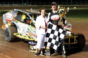 After winning the Lou Blaney Memorial race, Jeremiah is congratulated by Kate Blaney.