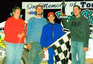 Lex's win June 19, 2005. Pictured from left: Patty Shingledecker (Jeremiah's mom) - Jeremiah - Lex - Travis