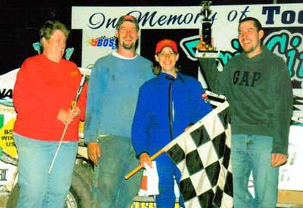 Lex's win June 19, 2005. Pictured from left: Patty Shingledecker (Jeremiah's mom) - Jeremiah - Lex - Travis