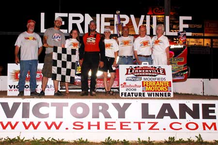 The 37MD Racing Team celebrates in Lernerville\'s Victory Lane