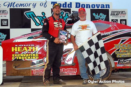 Jeremiah with his Dad in Victory Lane