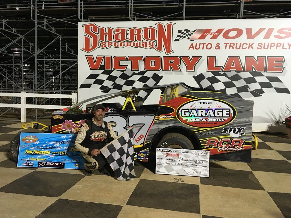 Jeremiah in victory lane after winning the Mod Tour race at Sharon Speedway