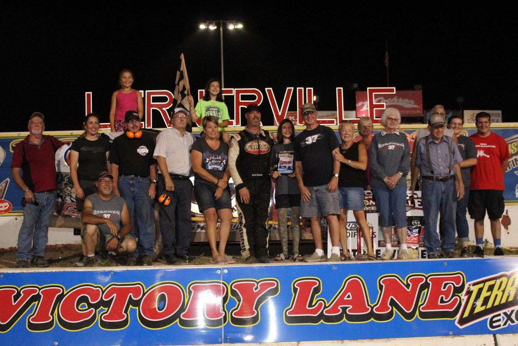 The 37MD Team in Victory Lane after another win by Jeremiah at Lernerville.