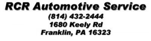 This image is the listing for our sponsor, RCR Automotive Equipment, 1680 Keely Rd, Franklin, PA 16323.